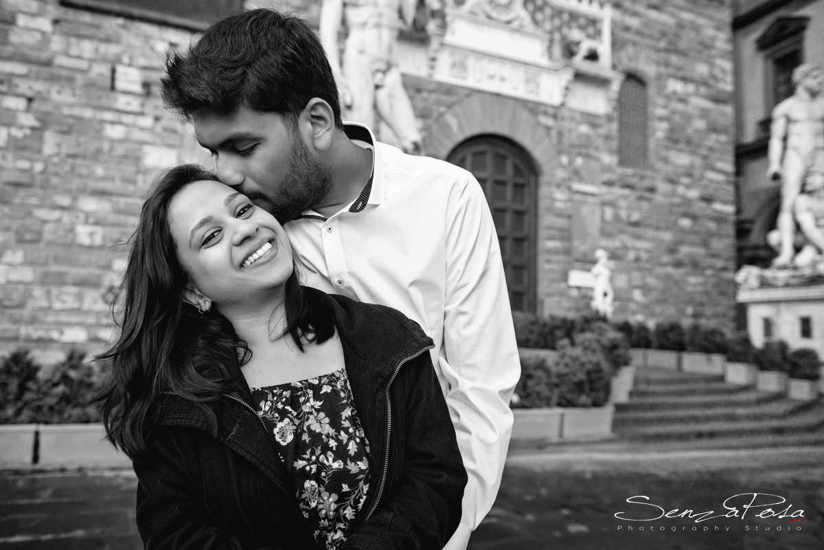 Piazza della Signoria e Palazzo Vecchio per fotografie di matrimonio a Firenze